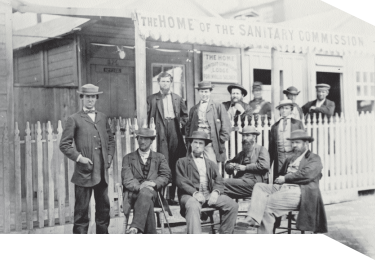 Civil War men posed in front of the USSC