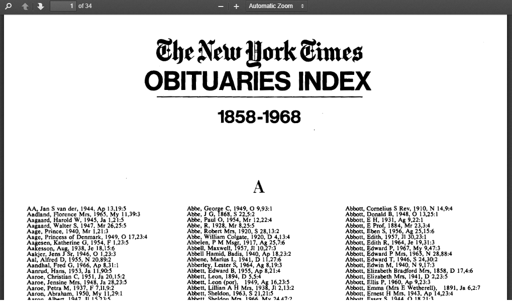 Find your ancestor's obituary: The New York Times and ...