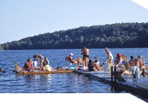Families swim at Lake Minnewaska, 1978
