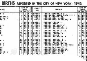 A page of the NYC birth index from 1942
