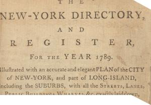 cover from 1789 New York City directory