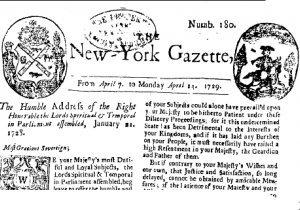 An image of a front page of the New-York Gazette from 1729
