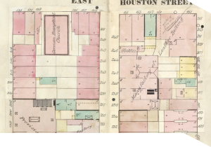 Part of a Sanborn map showing a detailed representation of a New York City street, including factories and churches