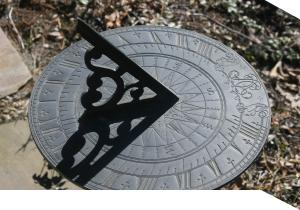 A sundial shows the time.