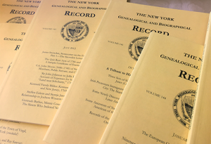A spread of various issues of the New York Genealogical and Biographical Record