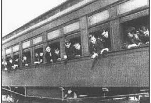 Children riding an orphan train