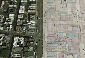 Google Earth Pro showing half contemporary satellite image and half historical map