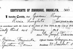 A marriage certificate from Brooklyn from 1898