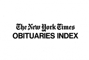 New York Times Obituaries Index, 1858 - 1968 | New York